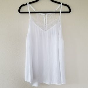 Lacy Tank Top w/ Button Up Back Detail